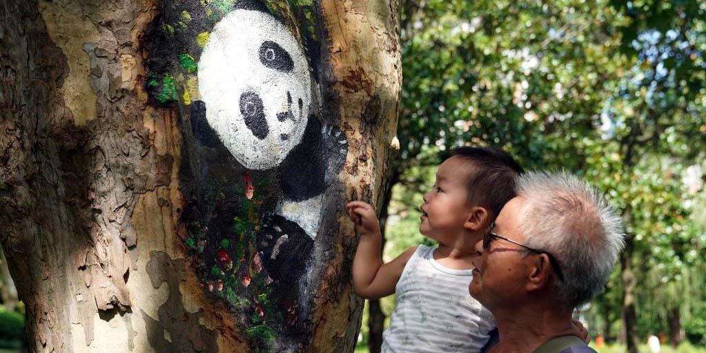 Fotos: buracos nos troncos de árvores com pinturas criativas no parque Zhabei em Shanghai