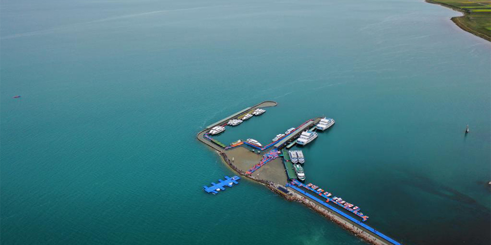 Paisagem do Lago Qinghai, no noroeste da China