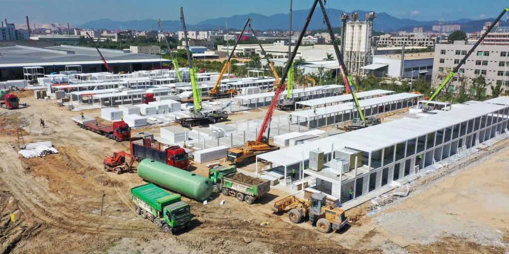 Seguem em andamento as obras do centro de quarentena temporário em Quanzhou, no sudeste da China